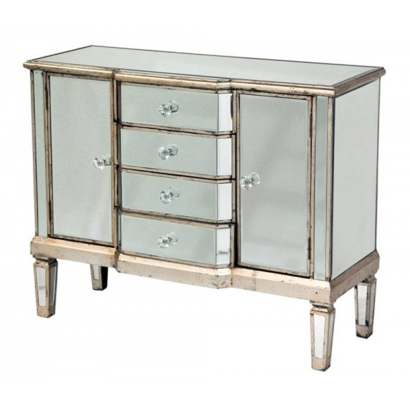 Mirrored Antique Venetian Sideboard 4 Drawer 2 Door | Mirrored Within Venetian Mirrored Chest Of Drawers (#7 of 20)