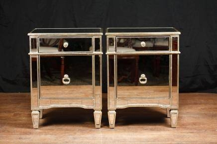 Mirrored Night Stands – Deco Mirror Bedside Tables And Cabinets Throughout Bedside Tables Antique Mirrors (#17 of 20)