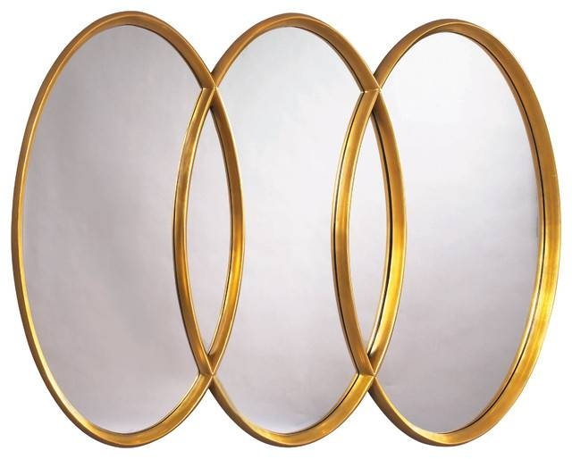 Mirrors Herleva Gold Oval Mirror Rotmans Wall Mirrors » Home Within Triple Mirrors (#13 of 30)