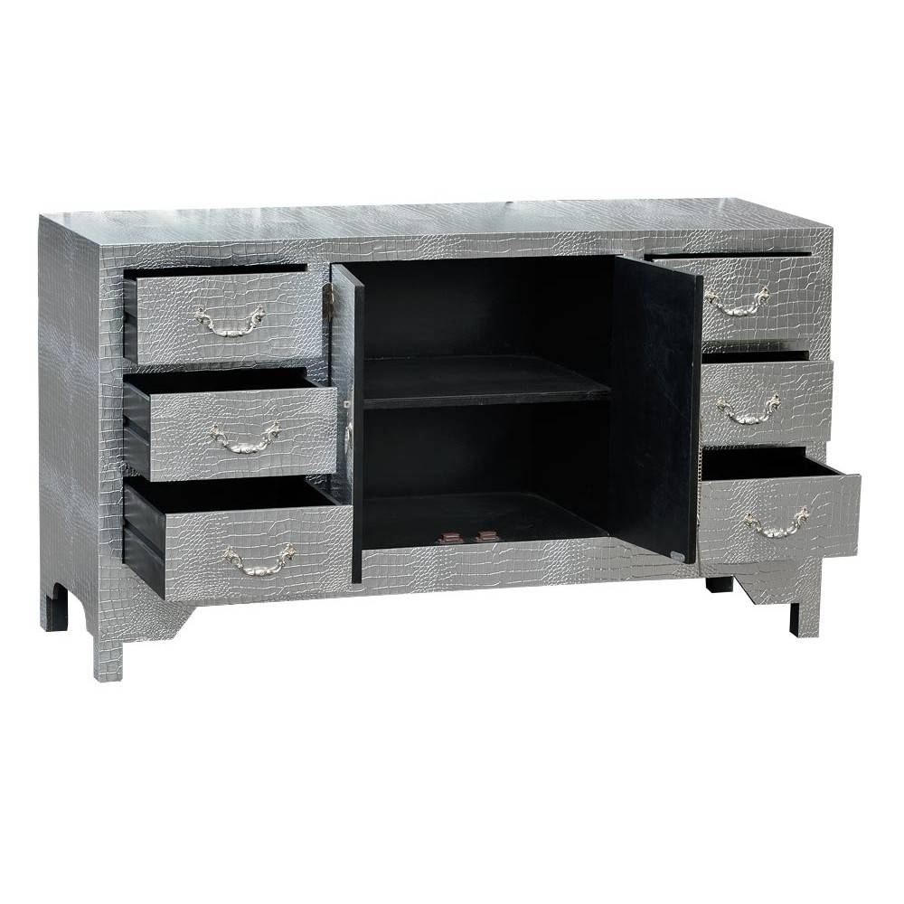 Moc Croc Silver Sideboard Cabinet – Mock Croc Finish – Mirrors For Black And Silver Sideboard (#10 of 20)