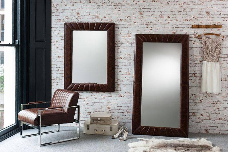 Modern Gallery Direct Style Brown Leather Leyland Leaner Mirror With Regard To Wall Leather Mirrors (#16 of 30)