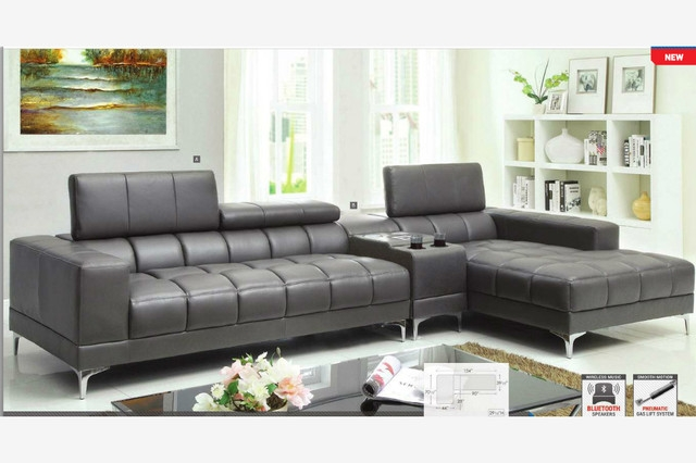 Modern Gray Leather Sectional Sofa Chaise Console Bluetooth Speaker Pertaining To Gray Leather Sectional Sofas (#9 of 15)