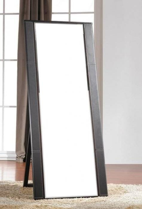 Modern Italian Free Standing Mirror With Leather Frame [Jmcolibri In Free Standing Mirrors With Drawer (View 19 of 20)