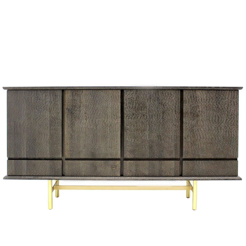 Modern Italian Textured Walnut Wood And Iron Four Door Sideboard Within Sideboards Modern (#12 of 20)