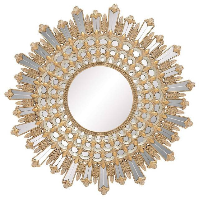 Modern Reflections Polystone Mirror Decor, Gold – Modern – Wall In Modern Gold Mirrors (View 14 of 20)