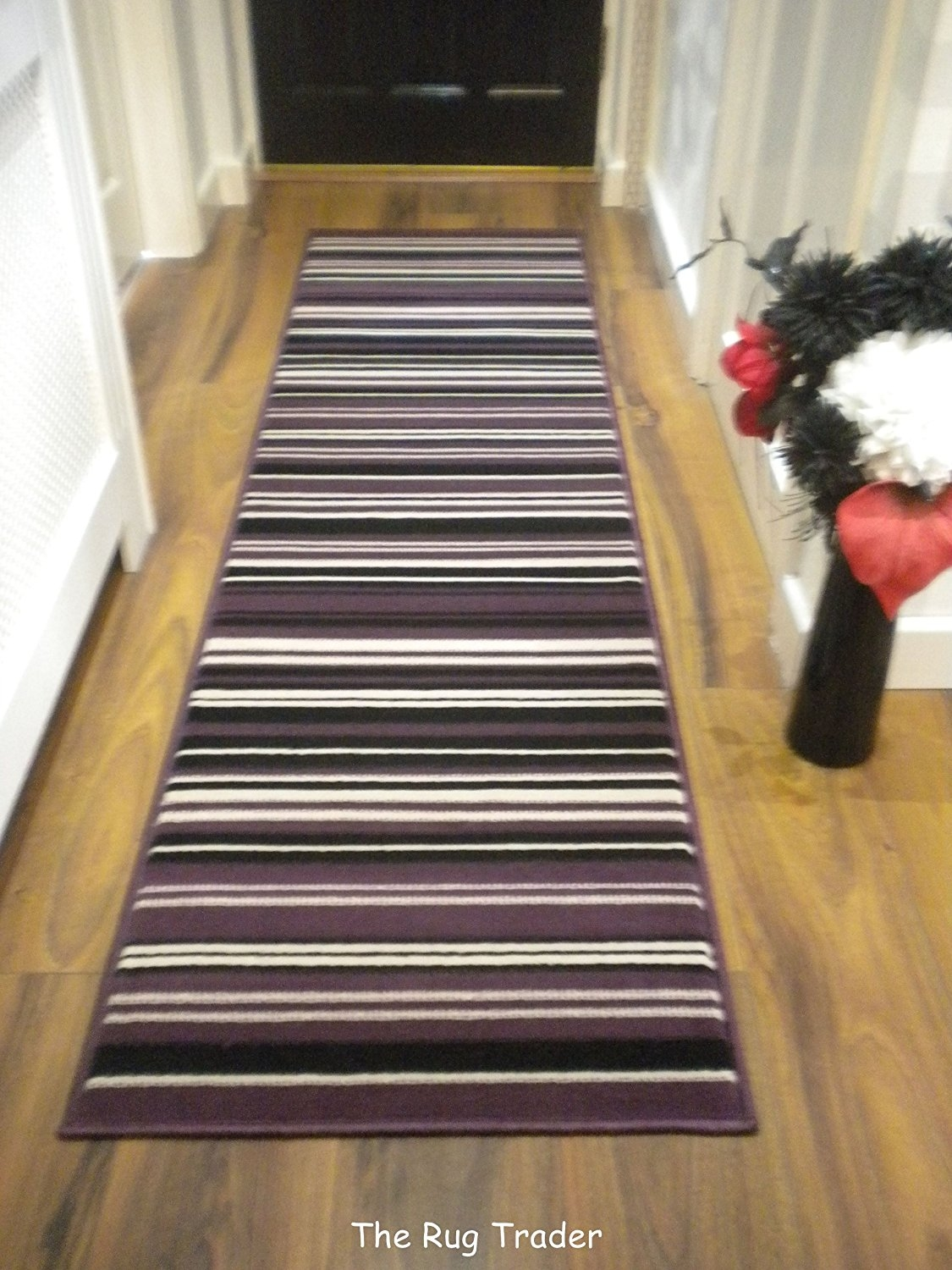 Modern Stripe Rug Purple Black Hall Runner 60cm X 220cm Amazonco Throughout Hallway Runners (#18 of 20)