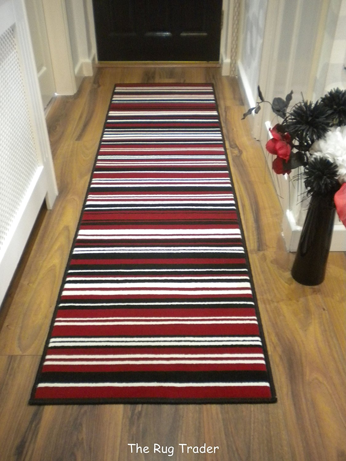 Modern Stripe Rug Red Black Hall Runner 60cm X 220cm Amazoncouk Regarding Hallway Runners Black And Grey (#18 of 20)