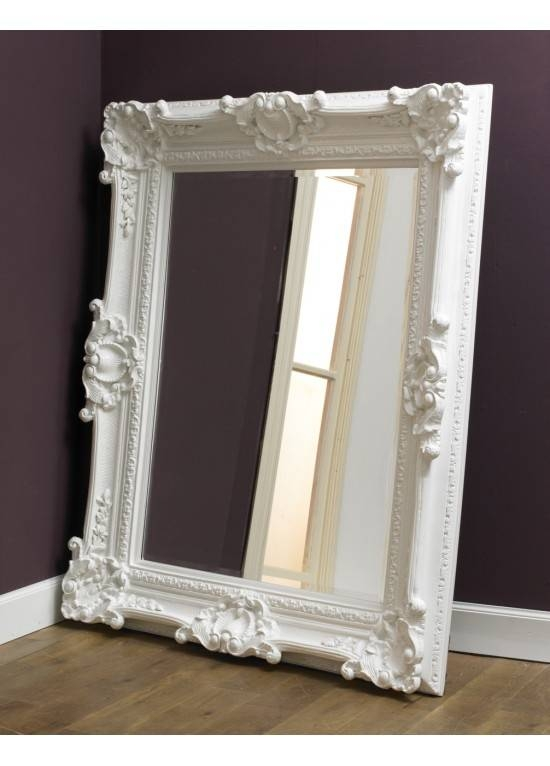 Modern Vintage White Rococo Glass Mirror Traditional With White Rococo Mirrors (#10 of 20)