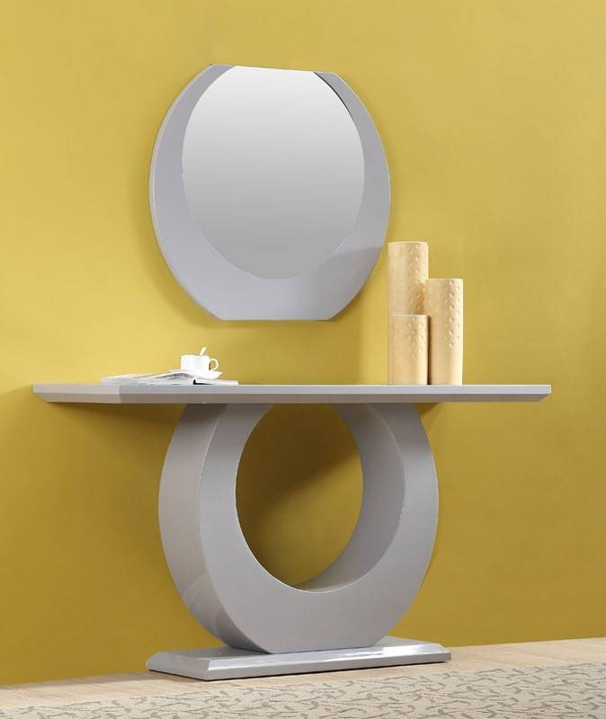 Modern White High Gloss Console Table With Mirror With Contemporary White Mirrors (View 4 of 15)