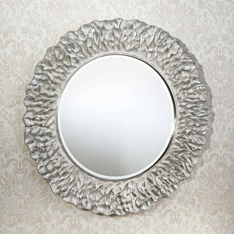 Modren Modern Round Mirrors Mirror In Colors Entryway Furniture Intended For Silver Round Mirrors (View 12 of 30)