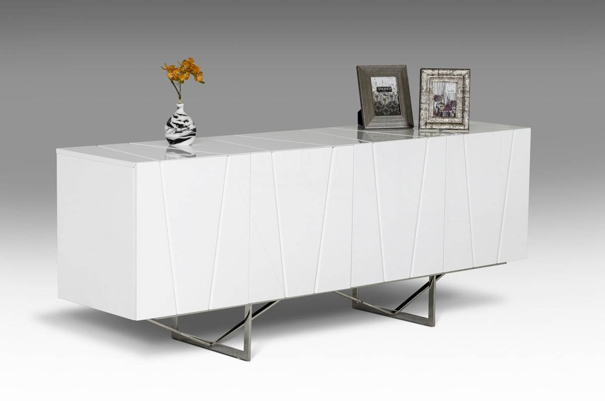 Modrest Chrysler Modern White High Gloss Buffet – Buffets – Dining Intended For Black Gloss Buffet Sideboard (View 2 of 20)