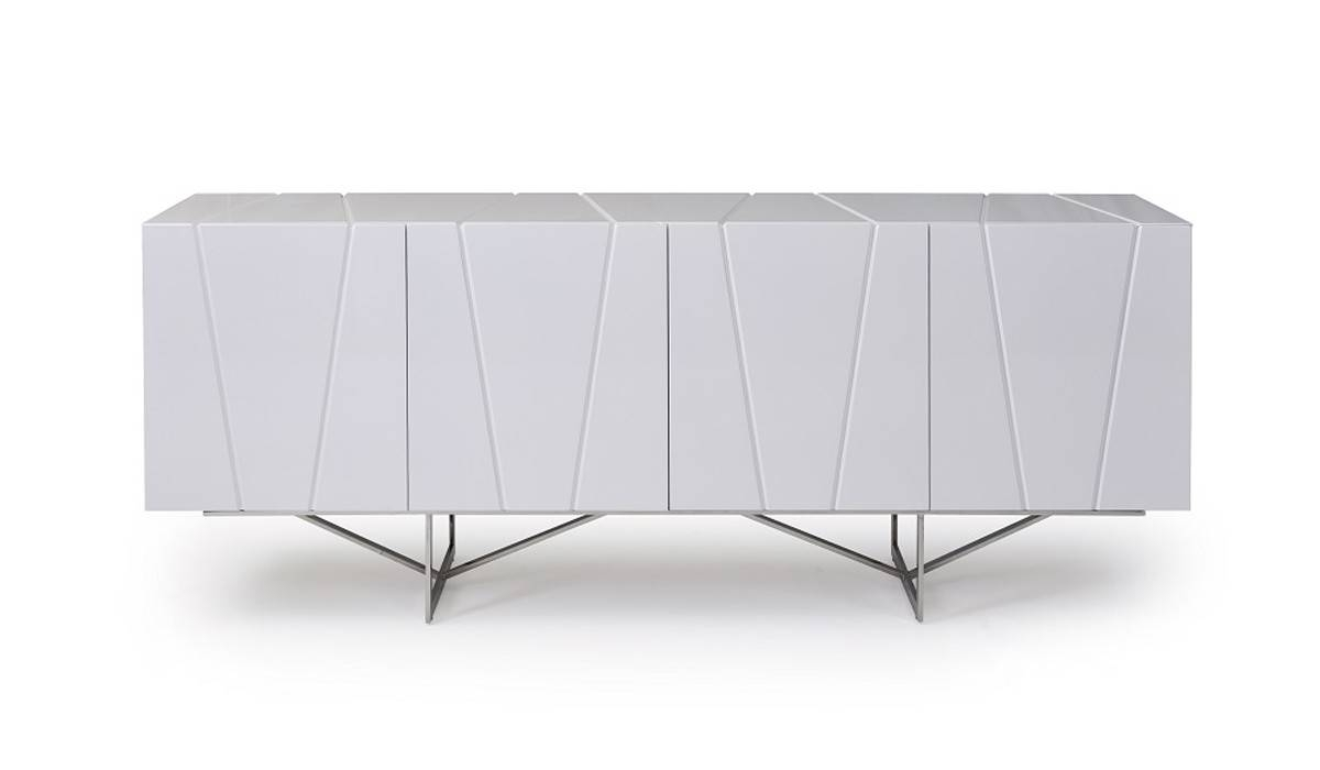 Modrest Chrysler Modern White High Gloss Buffet – Buffets – Dining With Black Gloss Buffet Sideboard (View 17 of 20)