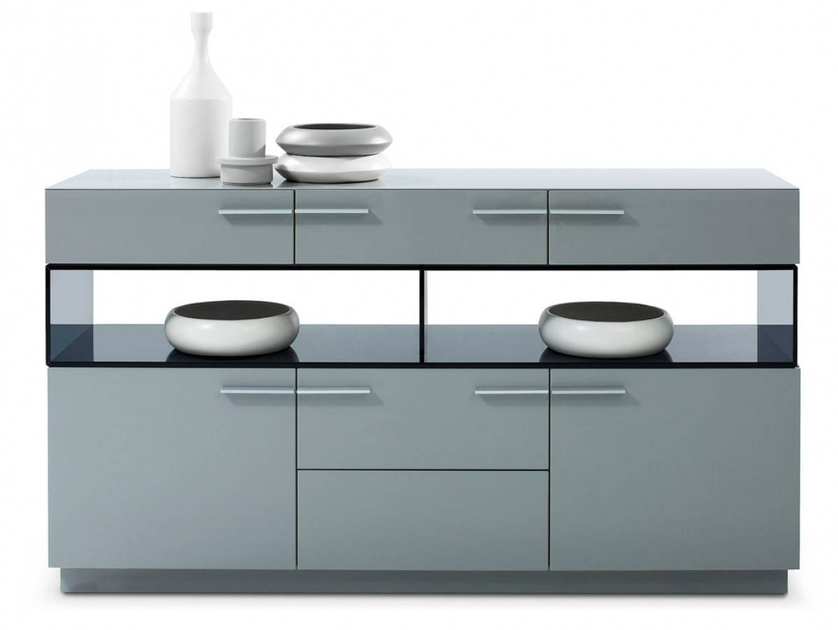 Modrest Daytona Modern Grey High Gloss Buffet Regarding Black Gloss Buffet Sideboard (View 13 of 20)