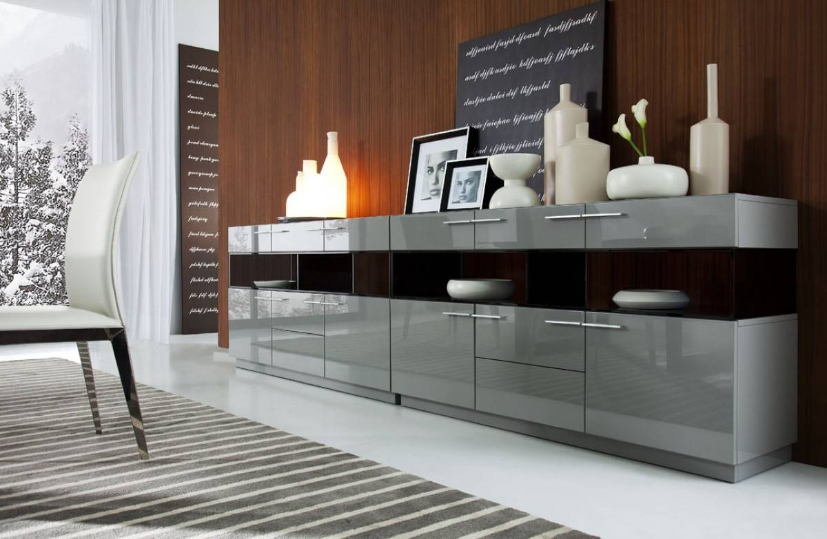 Modrest Daytona Modern Grey High Gloss Buffet With Contemporary Sideboard Cabinet (View 16 of 20)