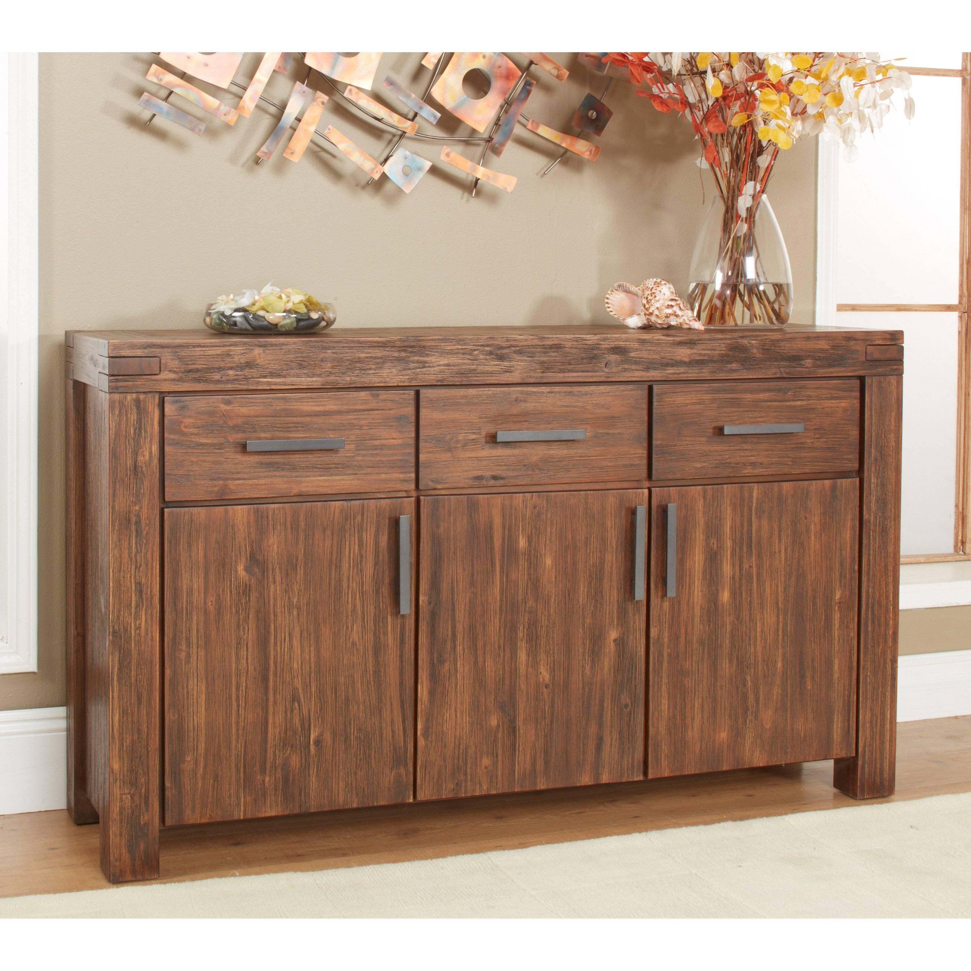 Modus Meadow 3 Door 3 Drawer Solid Wood Sideboard – Brick Brown Pertaining To Real Wood Sideboard (View 6 of 20)