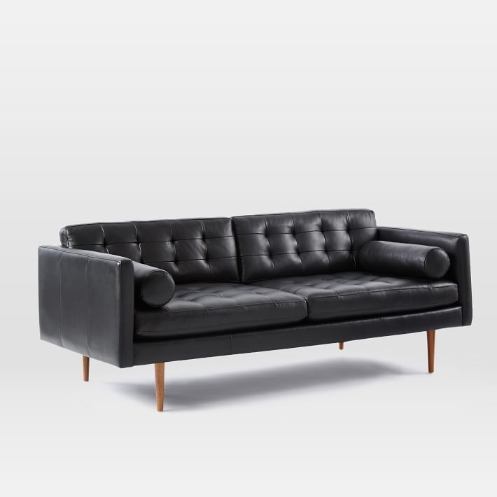 Monroe Mid Century Leather Sofa 80 West Elm For Leather Lounge Sofas (View 5 of 15)
