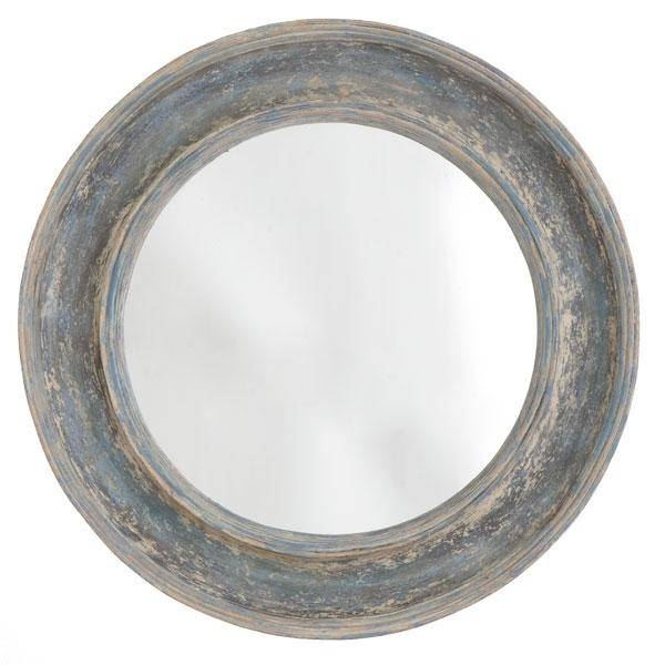 Montara Round Blue Double Border Mirror Intended For Blue Round Mirrors (#22 of 30)