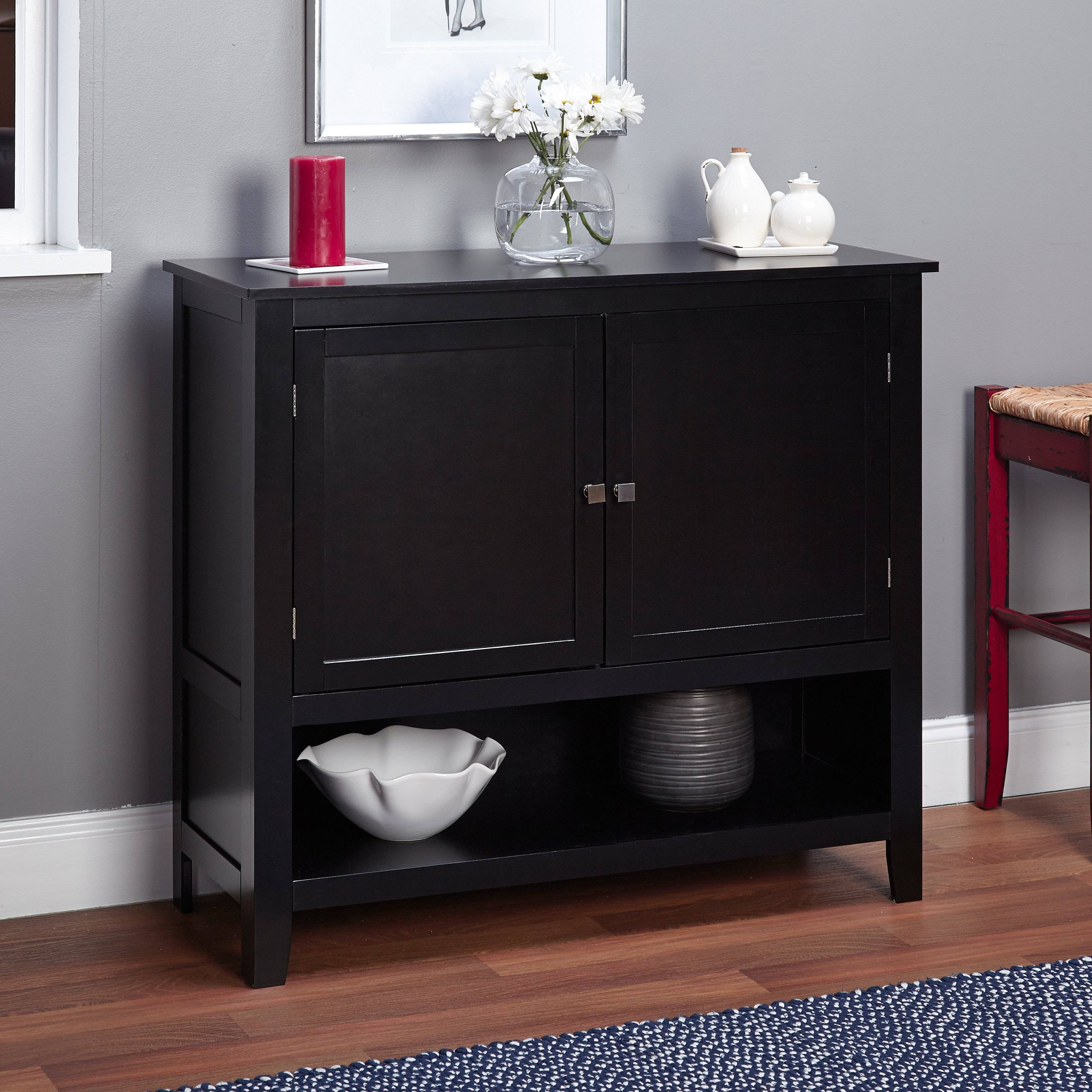 Montego Buffet, Multiple Colors – Walmart For Small Black Sideboard (#13 of 20)