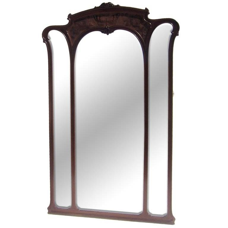 Monumental Art Nouveau Carved Standing Full Length Mirror For Sale Regarding Art Deco Full Length Mirrors (#18 of 20)