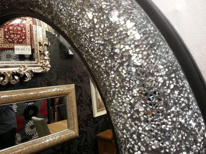 Mosaic Mirror Bow Design Frame Round 80X80Cm Black/silver In Black Mosaic Mirrors (#18 of 30)