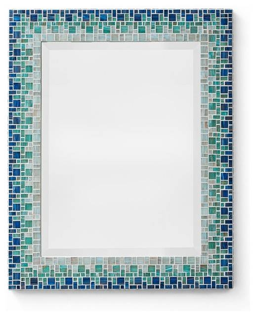 Mosaic Mirror – Ocean Blue & Teal (Handmade) – Beach Style – Wall Inside Mosaic Wall Mirrors (#14 of 20)