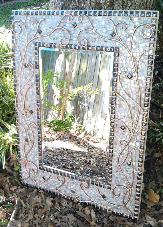 Inspiration about Mosaic Mirror Rectangular Tallmink Crackle Rectangle Tall – Shopwiz With Large Mosaic Mirrors (#16 of 30)
