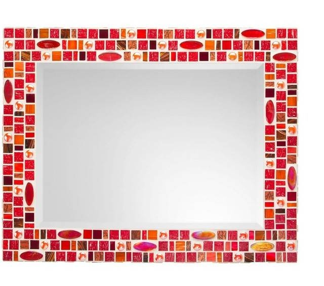 Mosaic Mirror – Red & Orange (Handmade) – Transitional – Wall Intended For Red Wall Mirrors (#17 of 30)