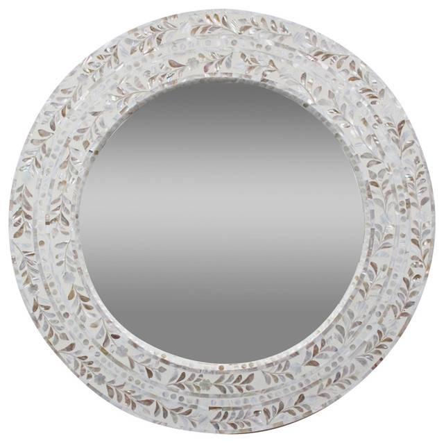 Mother Of Pearl Round Mirror – Mediterranean – Wall Mirrors – Regarding Mother Of Pearl Wall Mirrors (#20 of 30)