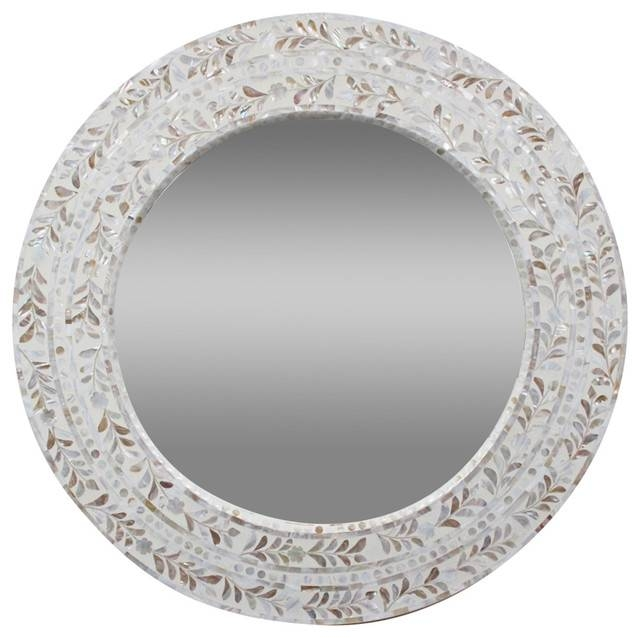 Mother Of Pearl Round Mirror – Mediterranean – Wall Mirrors – Regarding White Round Mirrors (#19 of 30)