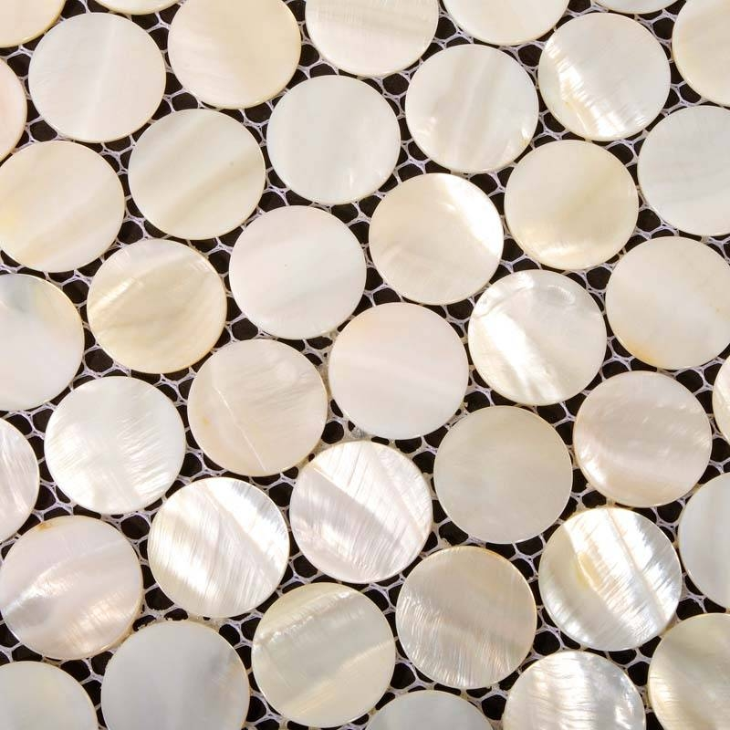 Mother Of Pearl Tiles Penny Round Bathroom Wall Mirror Tile Inside Mother Of Pearl Wall Mirrors (#21 of 30)