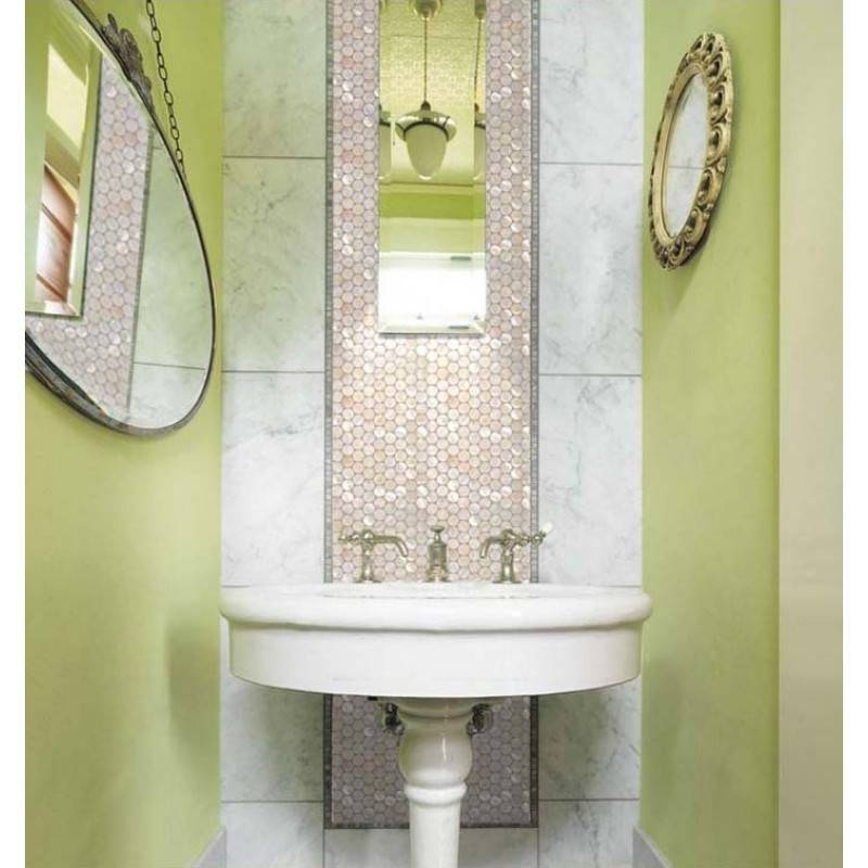 Mother Of Pearl Tiles Penny Round Bathroom Wall Mirror Tile Pertaining To Mother Of Pearl Wall Mirrors (#22 of 30)