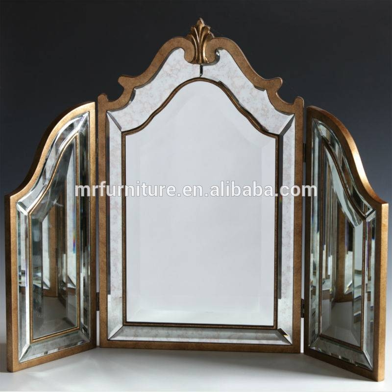 Mr 4T0093M Antique Gold Distressed Tri Fold Table Mirror – Buy Within Gold Dressing Table Mirrors (View 12 of 30)