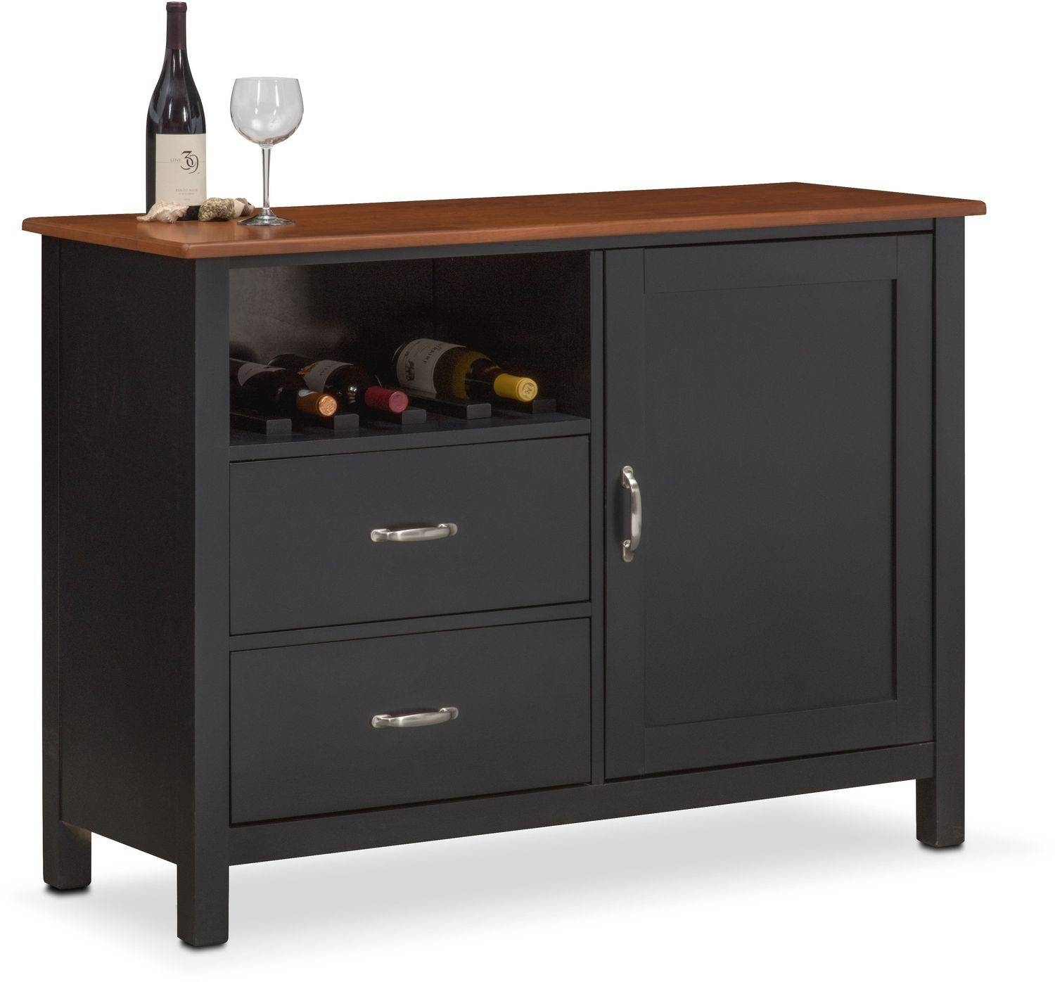 Nantucket Sideboard – Black And Cherry | Value City Furniture Inside Black Sideboard (View 7 of 20)