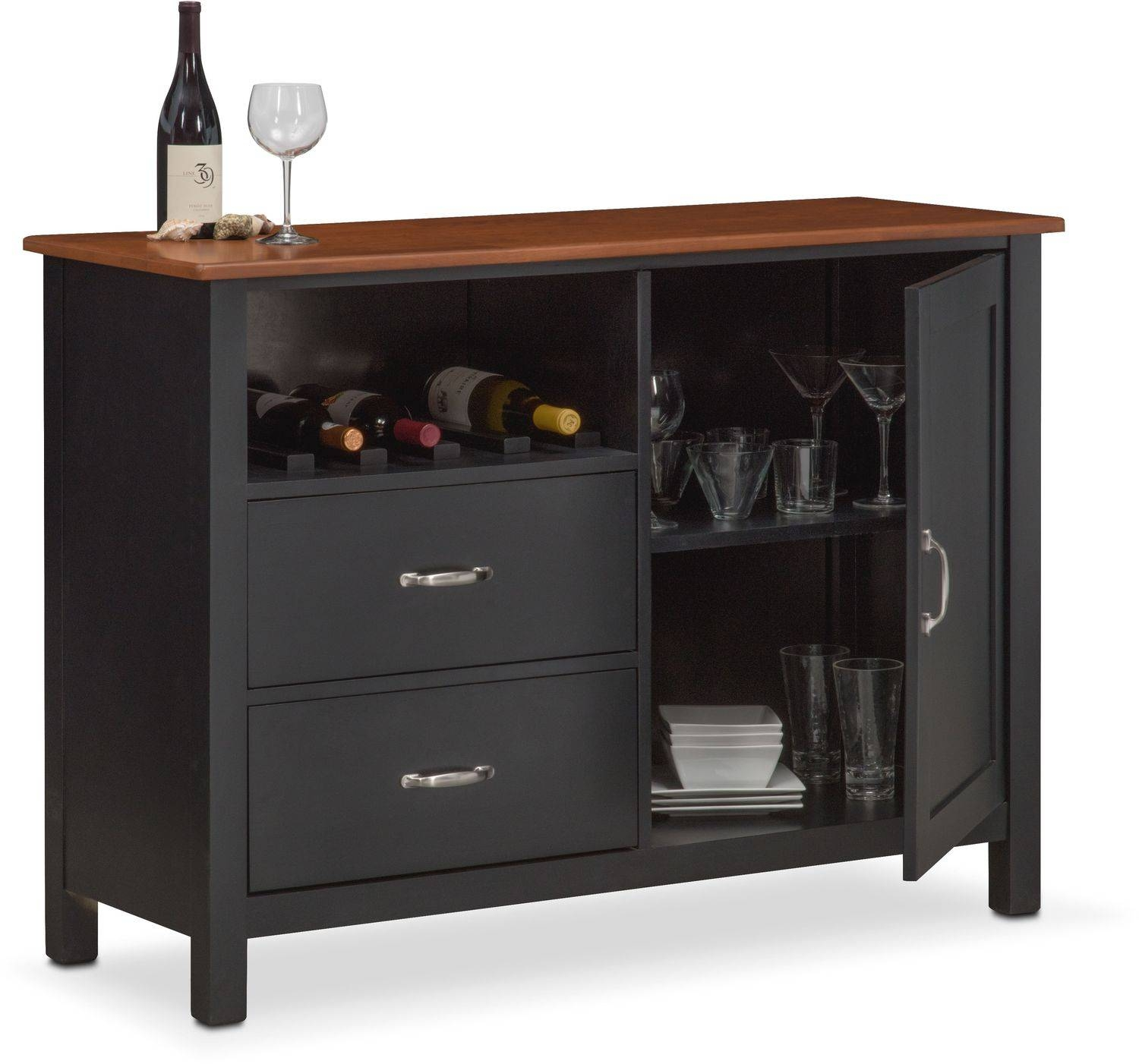 Nantucket Sideboard – Black And Cherry | Value City Furniture With Black Sideboard (View 17 of 20)