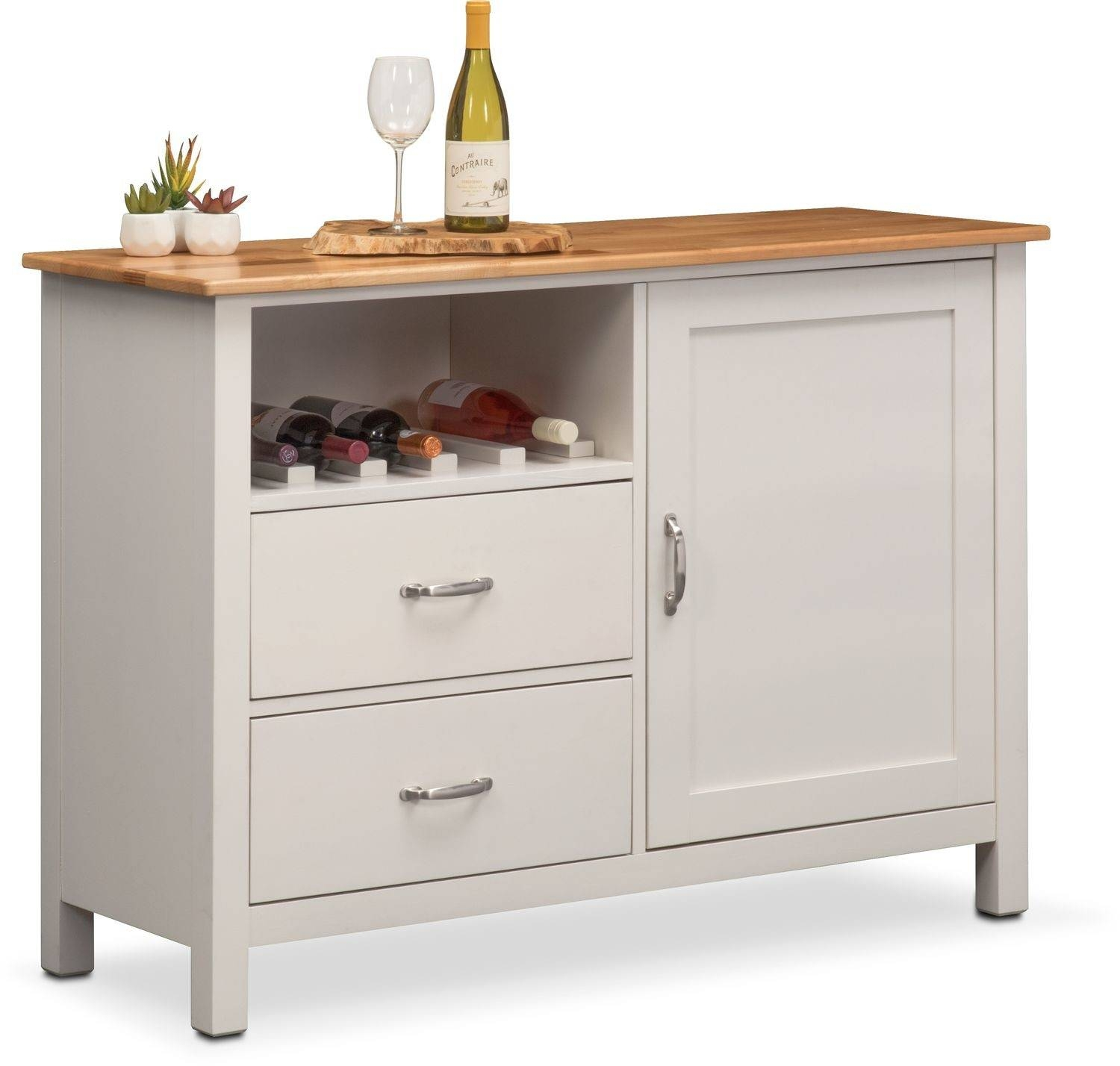 Nantucket Sideboard – Maple And White | Value City Furniture Inside White Sideboard Cabinet (View 12 of 20)