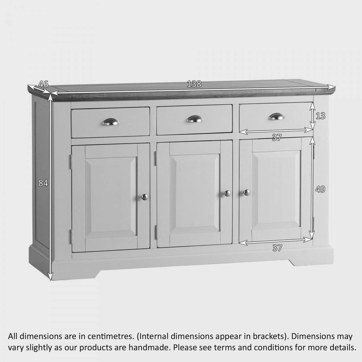 Natural Oak And Light Grey Painted Large Sideboard (#15 of 20)