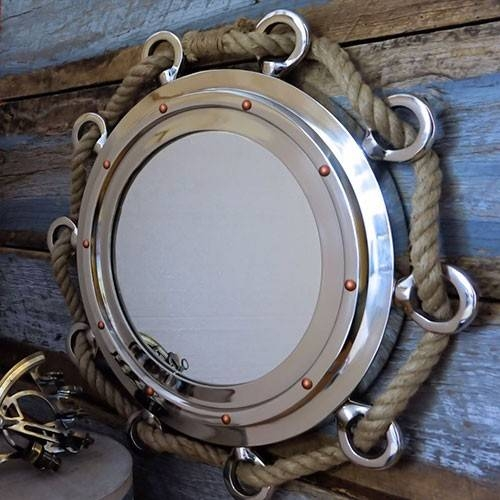 """Nautical Porthole Nickel Finish 23"""" Mirror With Rope 