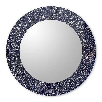 Navy Blue Glass Mosaic Round Wall Mirror Craftedhand – Round Within Round Mosaic Wall Mirrors (#13 of 15)