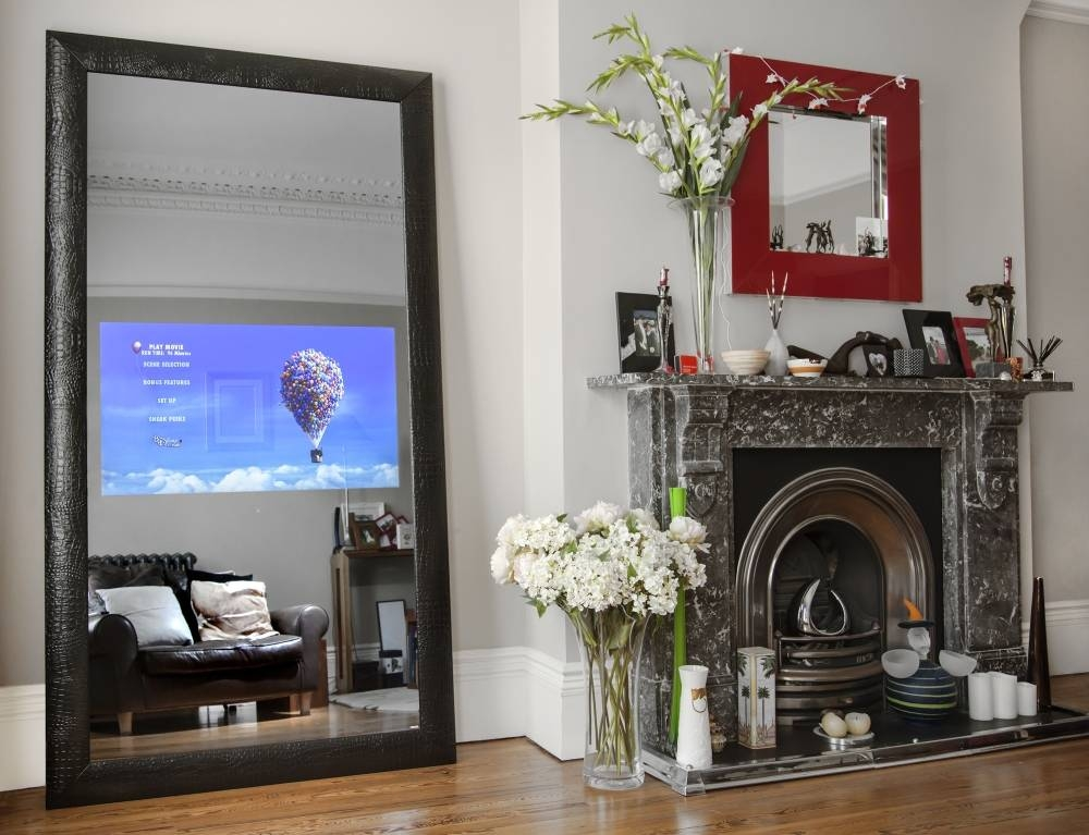 Neod Full Length Mirror Tv With Black Croc Leather Frame Tv On With Regard To Black Leather Framed Mirrors (#27 of 30)