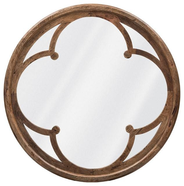 Neve Modern Brown Wood Round Large Mirror – Transitional – Mirrors Pertaining To Large Circular Mirrors (#19 of 20)