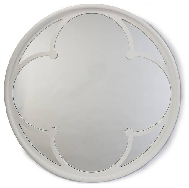 Neve Modern Gloss White Wood Round Small Mirror – Transitional Inside Round White Mirrors (#13 of 30)
