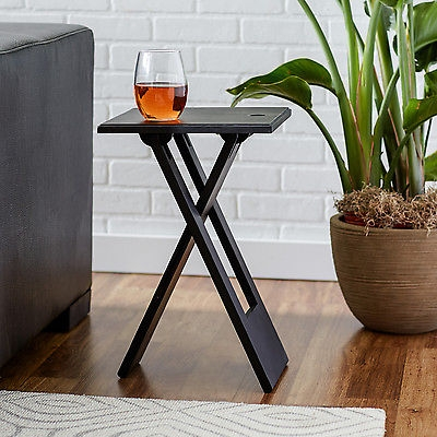 New Black Accent Table Wood Folding End Snack Side Dinner Drink Regarding Sofa Drink Tables (#13 of 15)