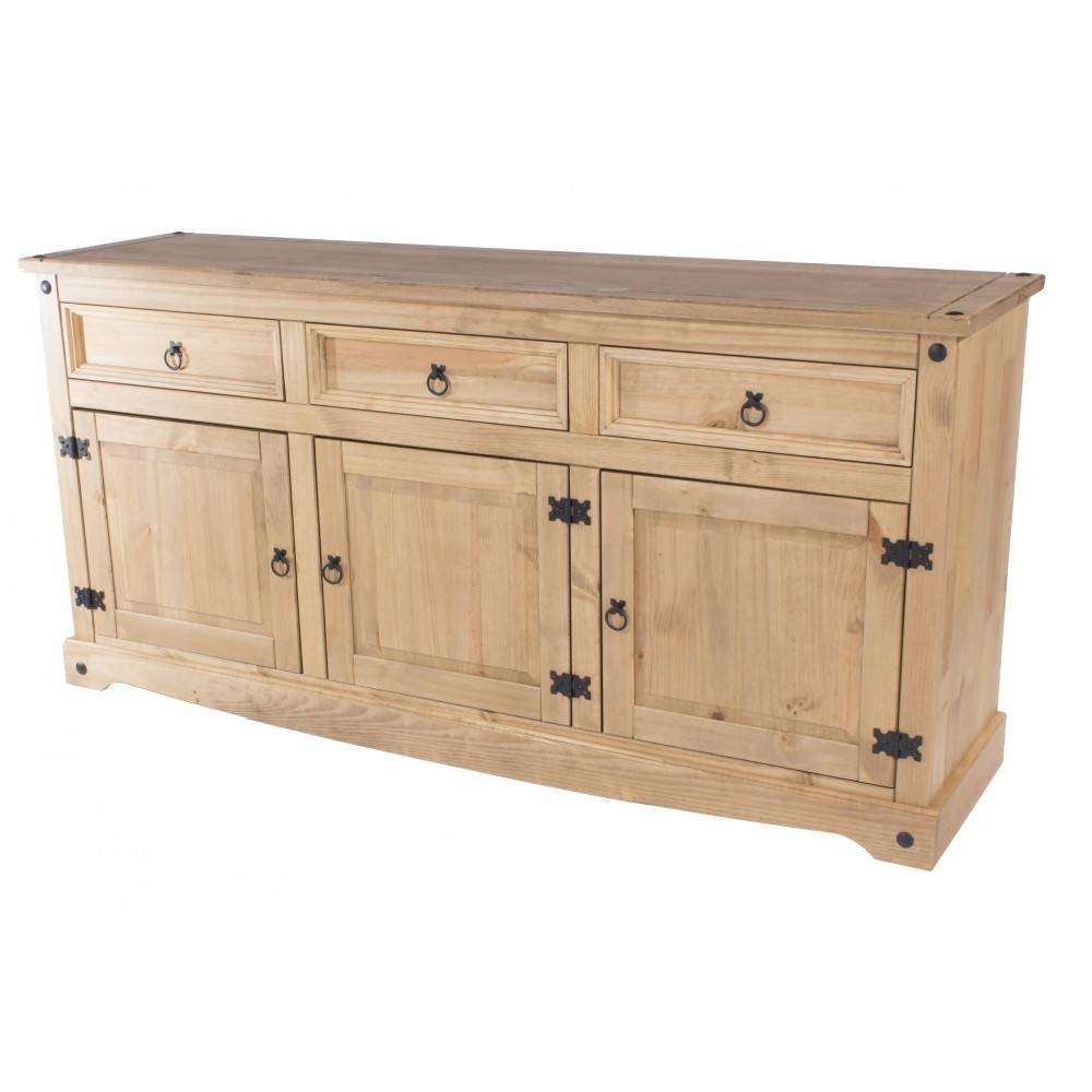 New Corona Mexican Waxed Solid Pine 3 Door 3 Drawer Large With Regard To Mexican Sideboard (#19 of 20)
