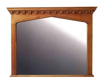 New Gothic Arch Wooden Overmantle Mirror Frame In Wooden Overmantle Mirrors (#25 of 30)