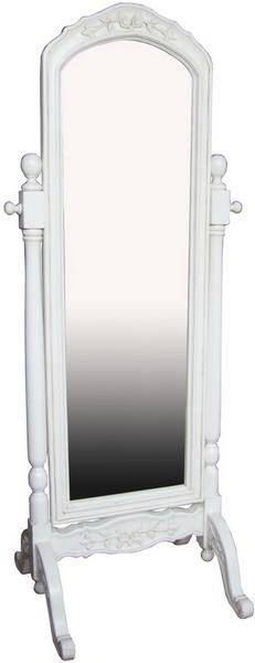 New Shabby Chic Distressed Tall White Rose Cheval Free Standing For Free Standing Shabby Chic Mirrors (#14 of 15)