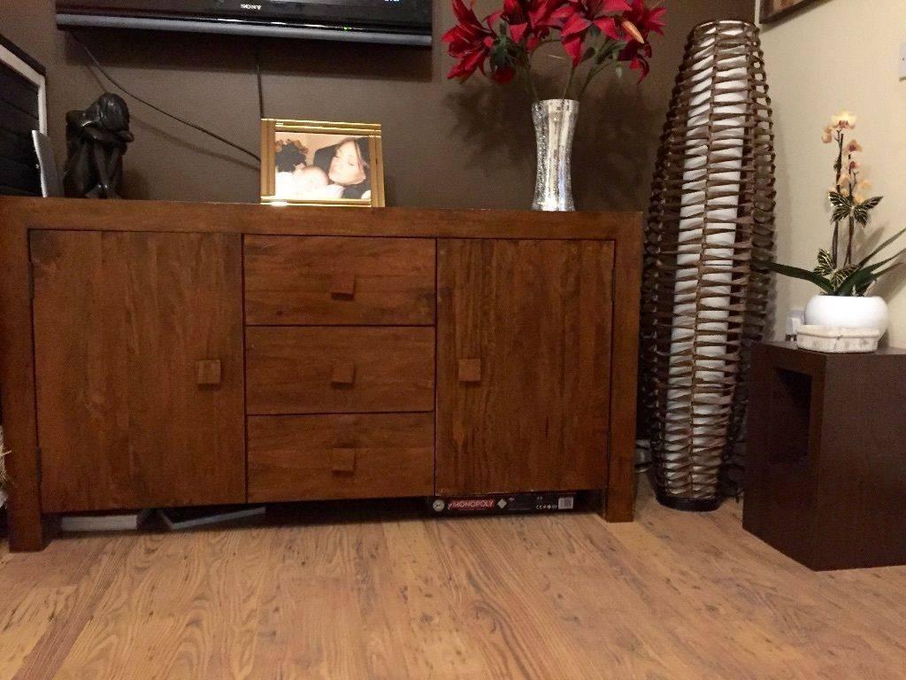 Next Solid Indian Mango Wood Dakota Sideboard Furniture Cupboard In Dark Brown Sideboard (#13 of 20)