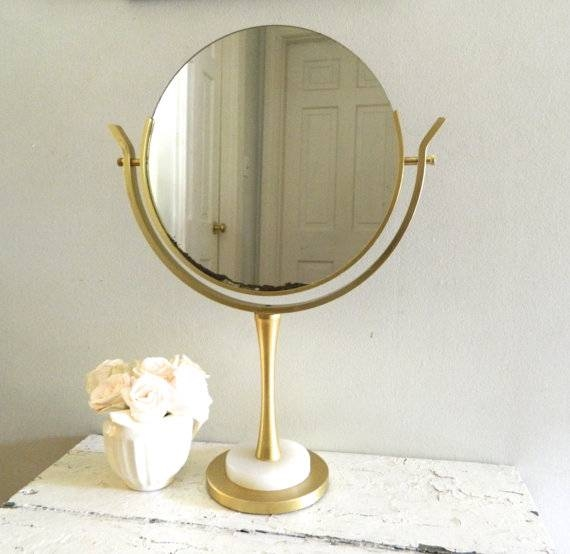 Nice Looking Vintage Vanity Mirror Makeup Mirror On Stand Vintage For Vintage Stand Up Mirrors (#26 of 30)