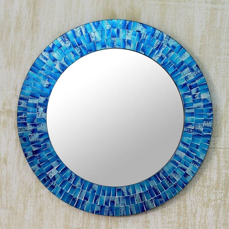 Novica Glass Tile Round Wall Mirror & Reviews | Wayfair Inside Blue Round Mirrors (View 11 of 30)