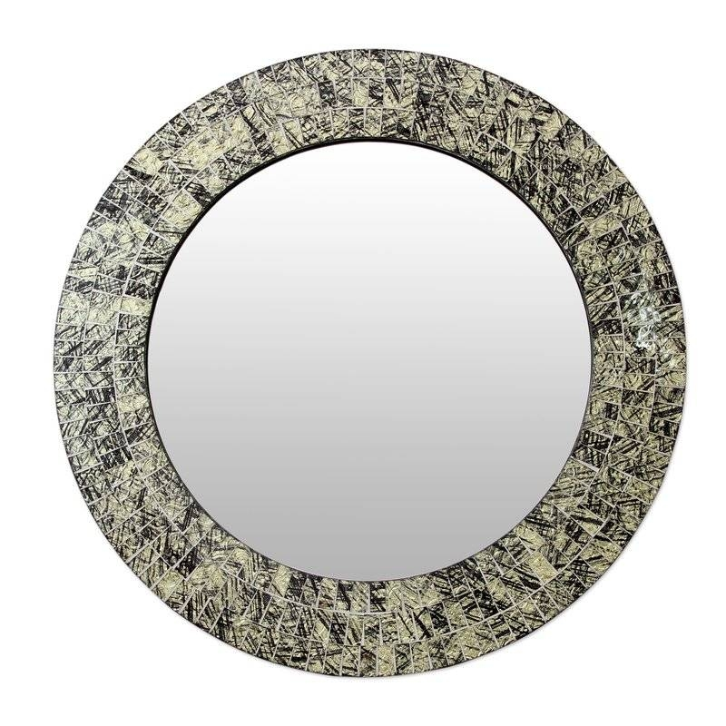 Novica Golden Moon Glass Mosaic Round Wall Mirror | Wayfair Within Round Mosaic Mirrors (#23 of 30)