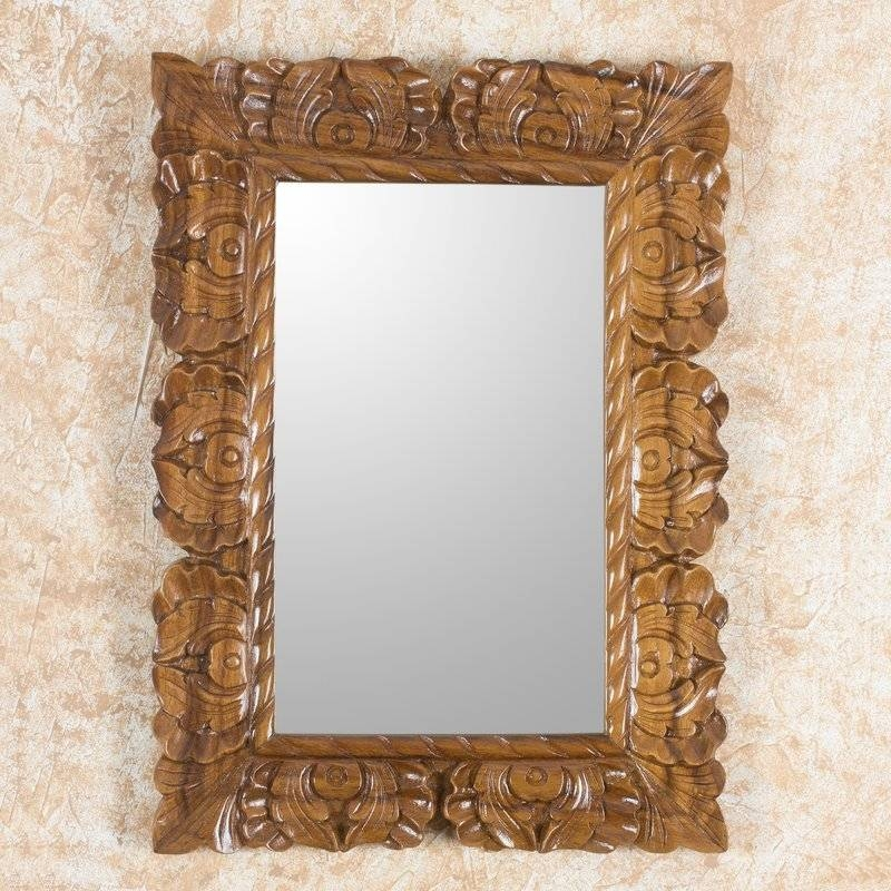 Novica Naturally Baroque Hand Carved Conacaste Wood Wall Mirror With Baroque Wall Mirrors (#14 of 20)